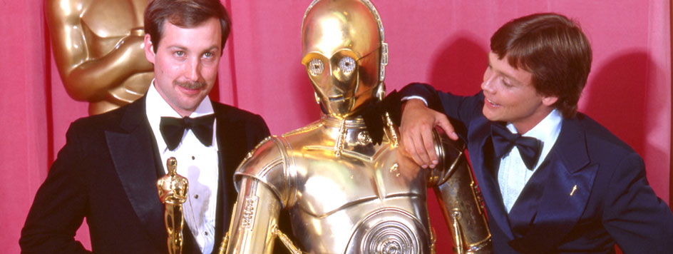 Ben Burtt, C3PO and Mark Hamill at the 1978 academy awards
