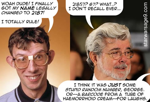 star wars nerd changed his name to (cell) 2187 and george lucas