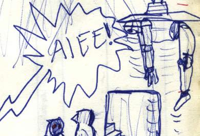 threepio taken into the Jawas' sandcrawler comic page detail