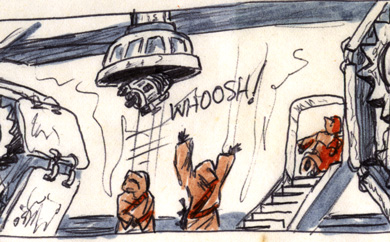jawas suck artoo up into the sandcrawler - detail of comic page