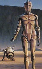 McQuarrie concept painting of threepio and artoo