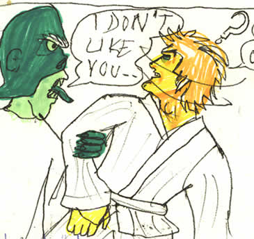 Doctor Evazan bullies Luke in the Cantina.