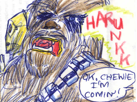 "Chewbacca calls out to Han to hurry up ""harunkk"" - detail of this Star Wars comic page of 1981"
