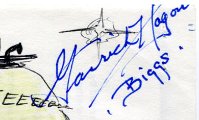 Garrick 'Biggs' Hagon's autograph on the comic