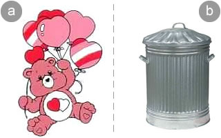care bear and a dust-bin