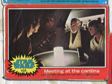 ben and luke meet solo and chewbacca - 1977 topps collectors' card