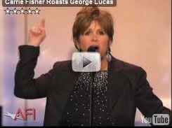Carrie Fisher roasts George Lucas video