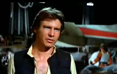 Han coyly says may the force be with you to luke