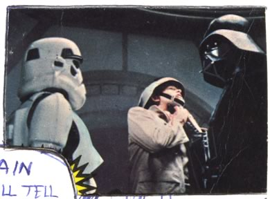 vader chokes a rebel on this Star Wars trading card