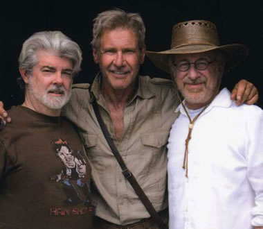 ford, spielberg and lucas in his han shot first t-shirt