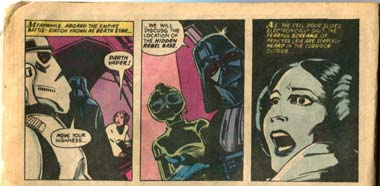 Vader interrogates Leia in the 1977 marvel comic adaptation