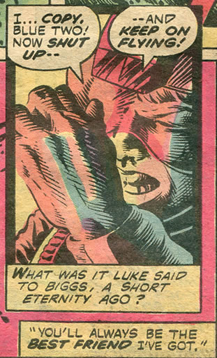 Luke shields his eyes from the blast - in chaykin's version