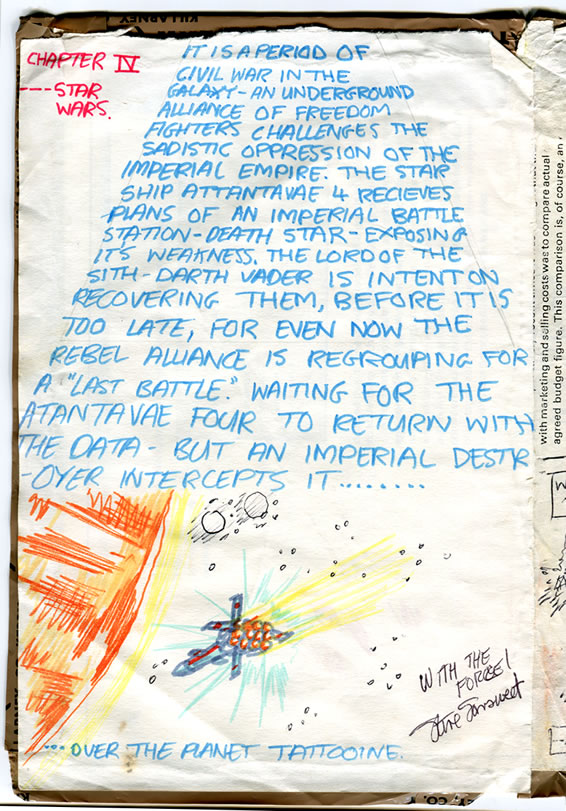 "We see the Star Wars 'Opening Crawl' of exposition text with the Tantive IV ship underneath, flying toward Tatooine. An autograph is bottom-right. It reads, ""With the Force!"" Steve Sansweet"