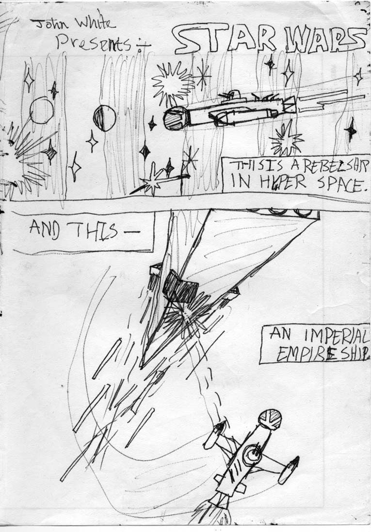 Kid's Star Wars comic page: Princess Leia's Rebel 'blockade runner' spacecraft, the Tantive IV emerges from hyperspace, pursued by the Imperial Star Destroyer.