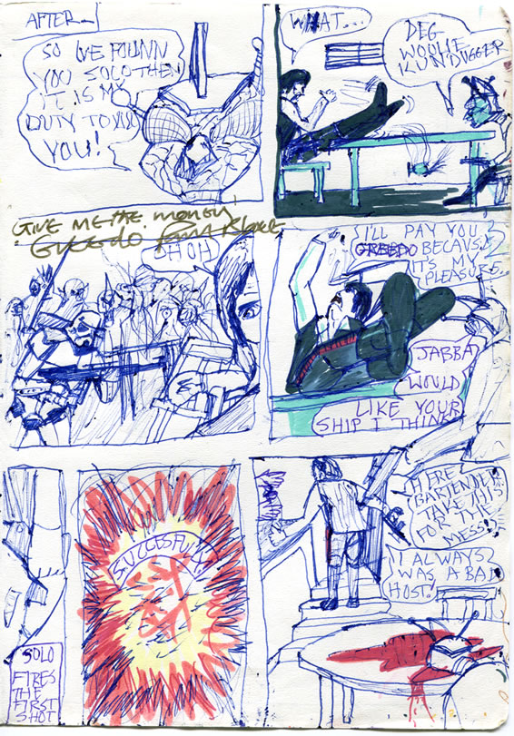 Han Solo shoots Greedo first in this late 1970s Star Wars comic page, by a kid in Ireland