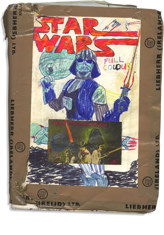 cover of the home made star wars movie comic adaptation graphic novel of 1977 made by a kid in ireland. With Darth Vader featured prominently on the cover