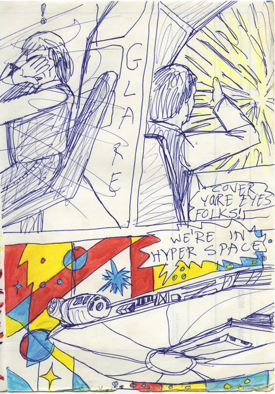 Han Solo makes the jump to light-speed and covers his eyes from the glare of hyperspace, in this 1978 Star Wars comic page made by a kid in ireland