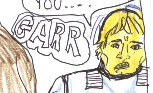 Chewbacca growls at Luke Skywalker