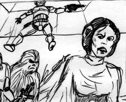 Princess Leia in the trash compactor star wars comic