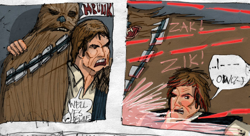 star wars comic page special edition detail image of han solo and chewbacca