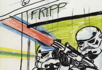 Stormtroopers try to shoot Luke and Leia in this star wars comic page detail