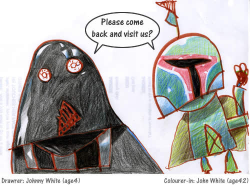 darth vader and boba fett drawn by a kid and his dad