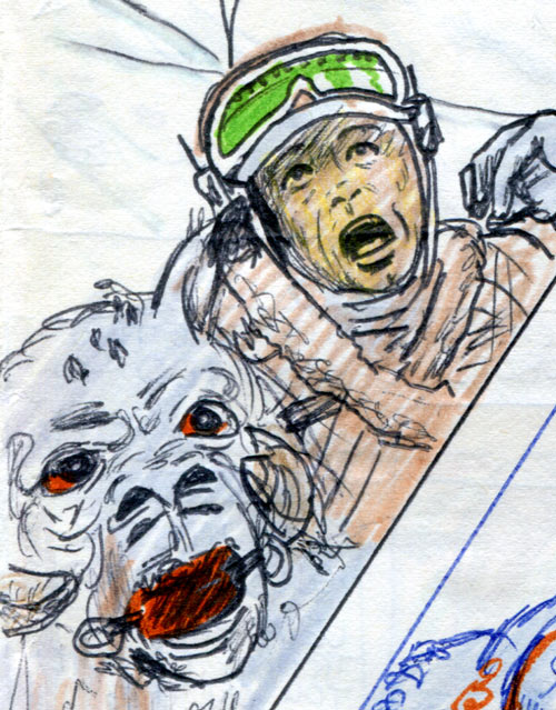 Luke and Tauntaun attacked by a Wampa—Star Wars comic page detail