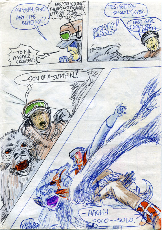 A page of the Empire Strikes Back Star Wars comic adaptation showing Luke attacked by a Hoth Wampa.