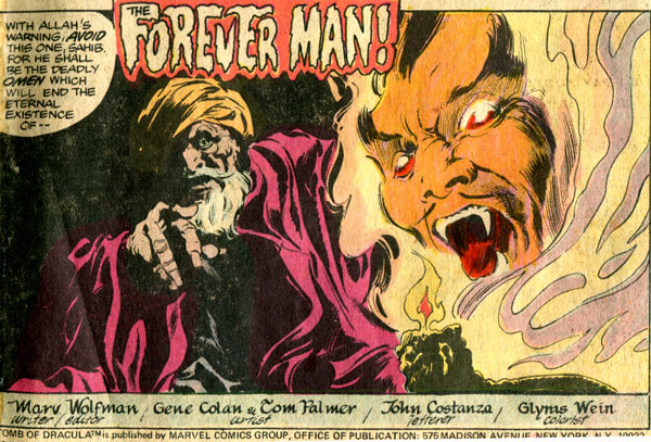 Tomb of Dracula comic, issue 57 Gene Colan Tom Palmer