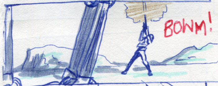 Luke shoots the harpoon at the walker