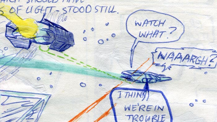 tie fighter chasing the millennium falcon—detail of comic page