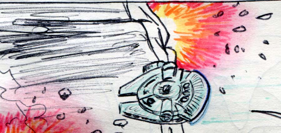 millennium falcon dives into the asteroid cave explosions star wars comic page detail
