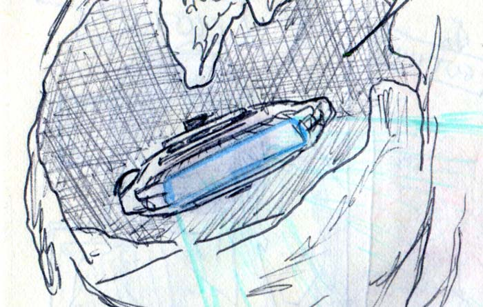 millennium falcon in space slug asteroid cave comic page detail