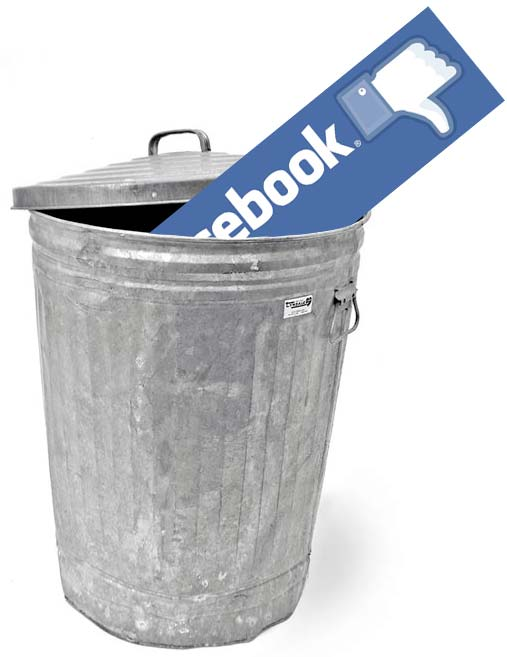 facebook logo in bin trashcan