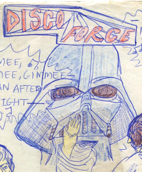 Front cover of my c.1979 Star Wars comic 'Disco Force'. Luke and Leia at Mos Eisley discoteque dancing to ABBA. Darth Vader's big head is behind—as usual.