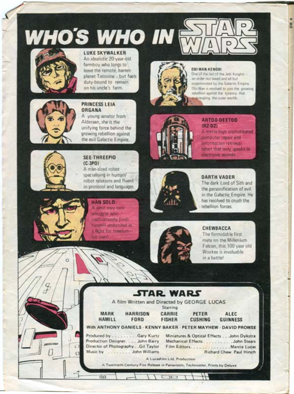 who's who in star wars form star wars weekly comic