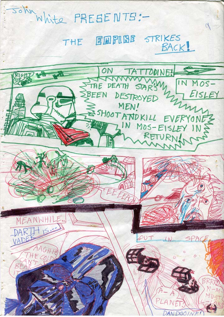 Kids star wars comic page. Stormtroopers massacre civilians in Mos Eisley. Vader's TIE Fighter tumbles through space.