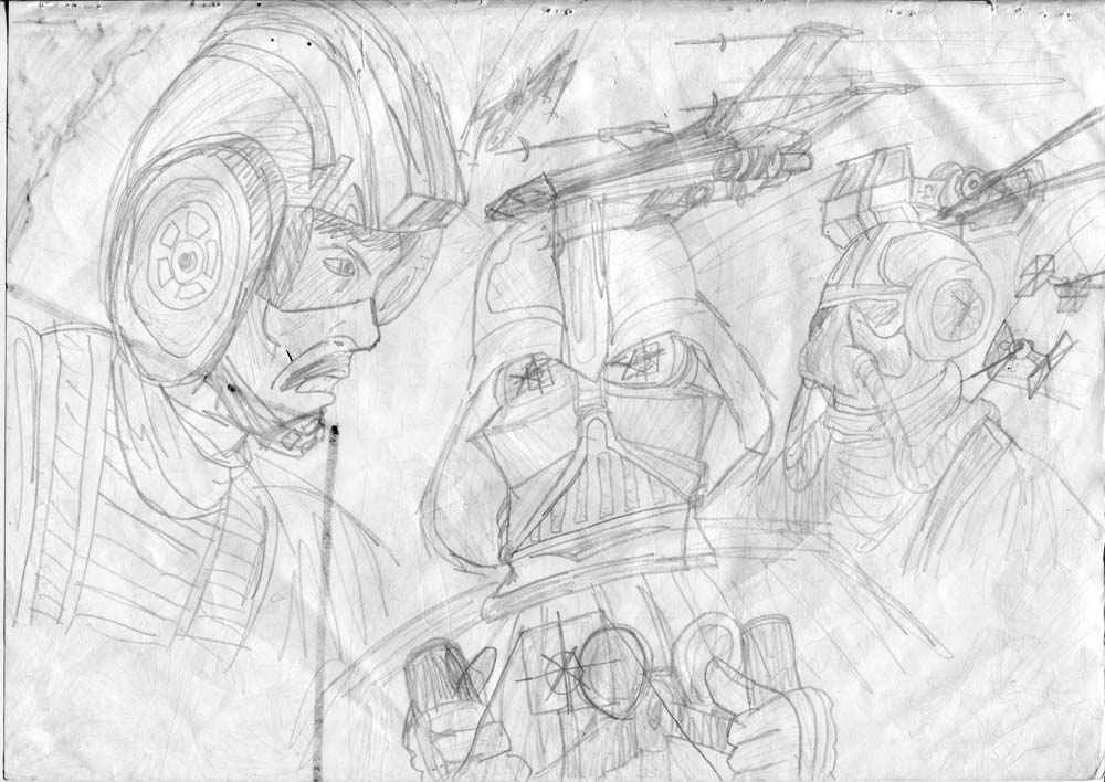 pencil star wars drawing by a 1978 kid of biggs vs vader