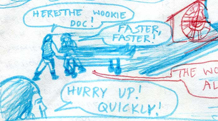 injured chewbacca is unloaded from the falcon on a gurney—star wars comic page detail