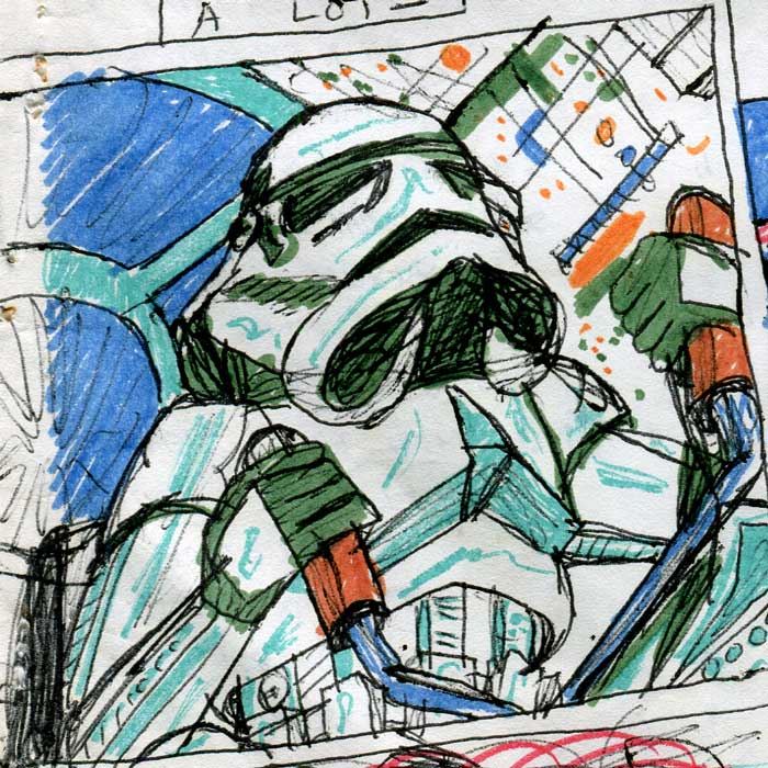 Stormtrooper flying a TIE Fighter—Star Wars Comic page detail