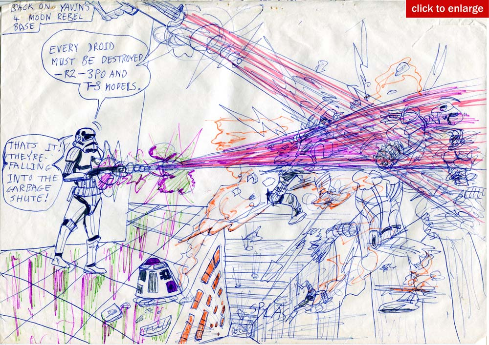 Kid's Star Wars sequel comic page: Stormtroopers at the Massassi Rebel base on Yavin 4, destroy all the rebel droids