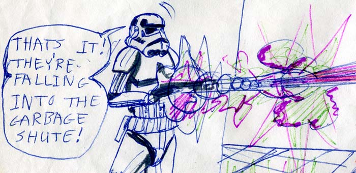 imperial stormtrooper firing his blaster—kid's Star Wars comic page detail