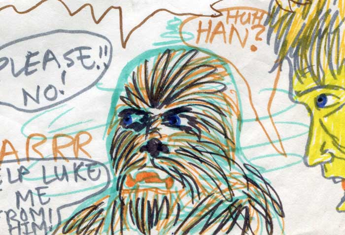 chewbacca mesmerised—detail of a Kid's Star Wars comic page