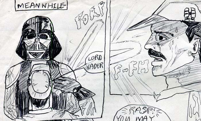 vader intimidates an officer with his lightsaber—kids' star wars comic page image detail