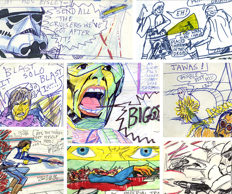 montage of images from the home made star wars movie comic adaptation graphic novel of 1977—1982 (?) made by a kid in Ireland.